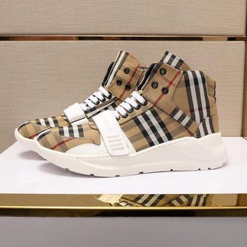 Burberry Men's Leather Fashion High Top Sneakers Shoes