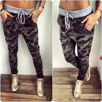 Camouflage Pants Long Women Trousers Casual Drawstring Mid Waist Pants ZB4463 [9305641991]