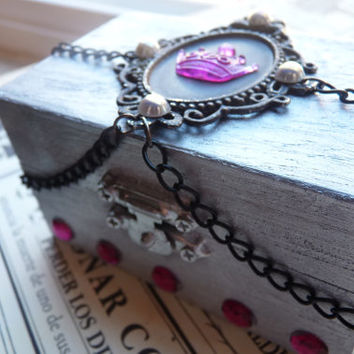 Metallic Silver Princess Pink Crown MINI BOX Chest