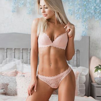 Sexy Intimates Bra Set wire free Underwear Lace Lingerie Push Up