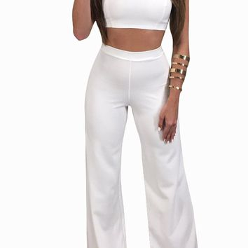 Plain Straps Crop Top and High Waist Trouser