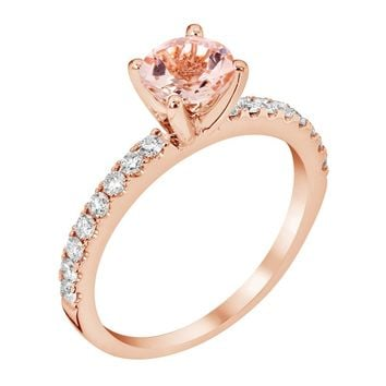 14k Rose Gold Diamond 5.75mm Round Morganite Engagement Ring