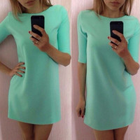 Mint Green Half Sleeve Loose Dress