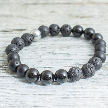Matte black onyx, shiny onyx and lava stone beaded stretchy bracelet, made to order yoga bracelet, mens bracelet, womens bracelet