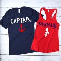 Her Captain His Mermaid Couple's Shirts