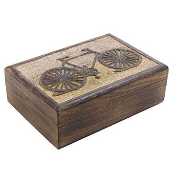 Mango Wood Jewelry Storage Boxes Organizers Hand Carved with Cycle Motifs