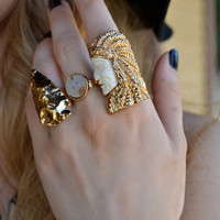 CHIEF /// Carved Bone Electroformed Ring /// Gold /// White