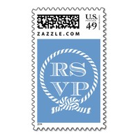 Nautical Rope Ring RSVP Wedding Stamps