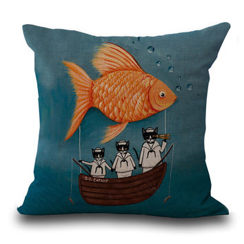 Lovely Meow Star People Cartoon Printing Cotton Pillow Cushion Set Hold The Window Pillow Case A1065