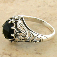 Victorian Inspired Sterling 925 Silver Onyx Ring