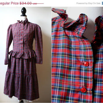 Black Friday Cyber Monday 1970s Two Piece Plaid Peplum Set - Matching top and skirt - Womens US S/M