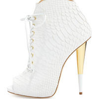 Giuseppe Zanotti Lace-Up Python-Print Leather Bootie, White