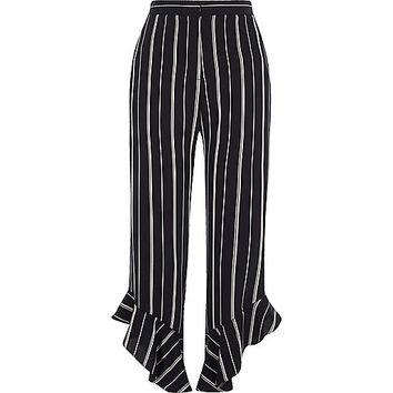 Navy stripe frill hem cropped trousers