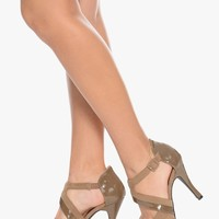 Taupe The DeLuxe Life two Tone Heels | $12.50 | Cheap Trendy Heels and Pumps Chic Discount Fashion f