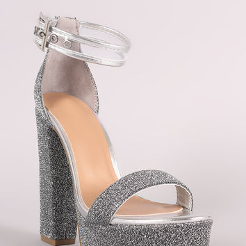 Bamboo Foiled Metallic Fabric Lucite Ankle Strap Platform Heel