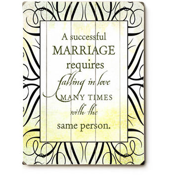 A Successful Marriage Wood Sign