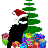 Christmas Le Chat Noir With Santa Hat by Gravityx9 Designs