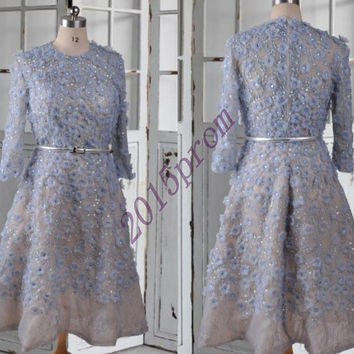 Vintage Court Style Tea Length Blue Lace Applique Prom Dresses,Full Sleeves Prom Dresses,Formal Party Grown Homecoming Dresses