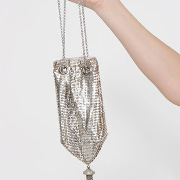 Vintage 50s WHITING and DAVIS Silver Mesh Bag FLAPPER Bag Mesh Gatsby Wrist Bag Wedding Purse 20s Style Bag