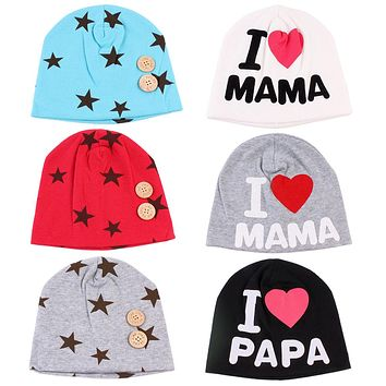 Baby Hat Caps A Hat For A Boy Girls Star Mama Papa Hats For Girls Children Hospital Cotton Knitted Children's Hats Winter
