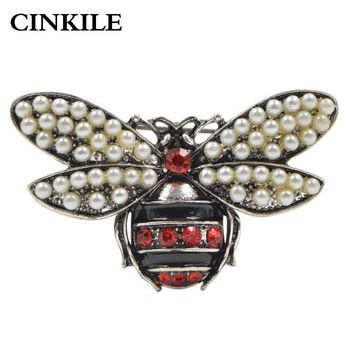 CINKILE Pearl and Rhinestone Bee Brooches for Women Vintage Fashion Enamel Pin New Arrival Insect Brooch High Quality New