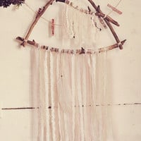 Driftwood Triangle Dreamcatcher - Boho Wall Hanging Decor - Laces Dream Catcher - Gypsy Bedroom Decor -  Bohemian Nursery - Made To Order