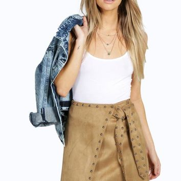 Boutique Sophia Studded Suede Look Wrap Skirt | Boohoo