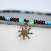 Wood Sun Necklace. La Sol Turquoise Bead Necklace. Sunshine Charm Jewelry. Green Brown Blue Jewelry. Canadian Shop