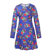 Winter Christmas Dress Women Blue Print Pleated Flared Round Neck Tunic Loose Elastic Party Mini Xmas Sexy Dresses