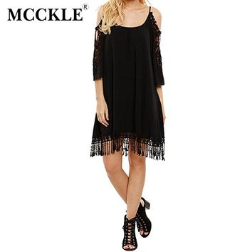 MCCKLE Elegant Lace Summer Dress Women Sexy  Shoulder Boho Crochet Shift Dresses 2017 Tassel Drop Beach Casual Clothing Dress