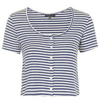 PETITE Button-Up Striped Top - Blue