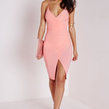 SLINKY STRAPPY ASYMMETRIC BODYCON DRESS BLUSH