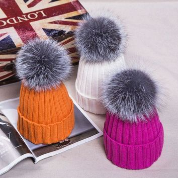 PEAPUNT Popular Women Knitted Beanies with 15cm Fox Fur Pompom Winter Fur Bobble Hat Real Fur Pompom Cap Woven Bobble Hat