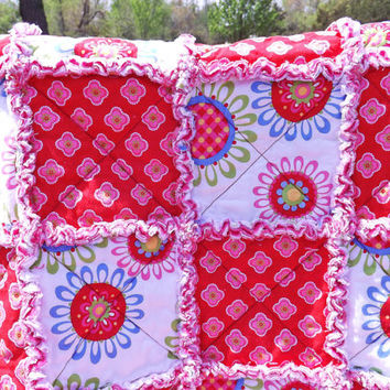 Girl's Rag Quilt, Lap Quilt, Red and Pink, Flowers, Handmade