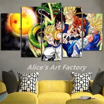 5Piece Canvas Print Poster Wall Pictures Anime Poster Prints Canvas Art Dragon Ball Catoon Painting Modular Quadros Home Decor