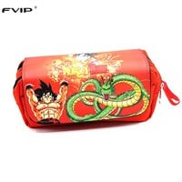 FVIP Cosmetic Cases Anime Cartoon Dragon Ball Z/ Naruto / One Piece Students Pencil Case Makeup Bag With Soft Handle
