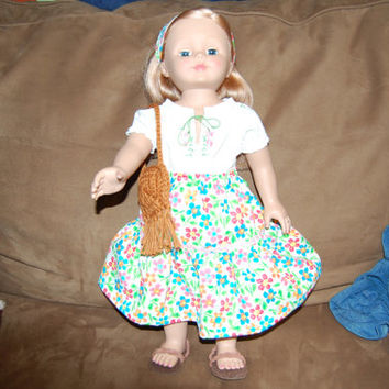 doll clothes,hippie outfit, handmade blouse and skirt, sandals, purse, head scarf, fits American Girl