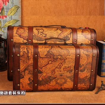 Wooden storage box vintage Map suitcase style Metal Lock box for jewelry & book packaging big retro crafts wedding gifts