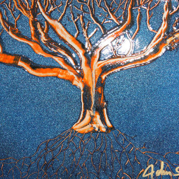 """Spray Paint Art """"Eternal Tree Of Life"""" Abstract Painting of the Tree of Life Blue Metallic Background by Artist John Sayne 8 in. x 10 in."""