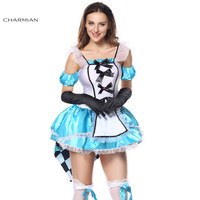 Charmian Halloween Costume for Women Alice in Wonderland Cosplay Carnival Oktoberfest Costume Mini Dress