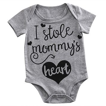 Newborn Toddler Baby Boys Girls Romper Gray Short Sleeve Letter Printed Jumpsuit Outfit Summer Clothes