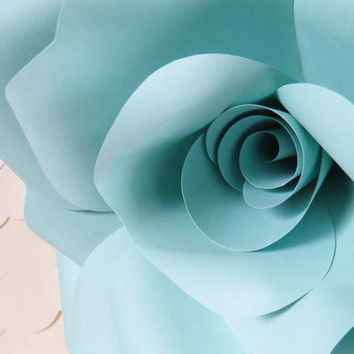 ROBIN'S EGG BLUE paper wall rose - floral decor - wall art paper sculpture - Flower Taxidermy No.93