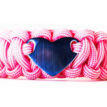 Custom Paracord Bracelet with Personalized Stainless Steel Engraved Heart ID Tag - FREE Engraving Included