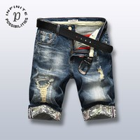 Denim Summer Men Korean Slim Ripped Holes Stretch Shorts [1589006729309]