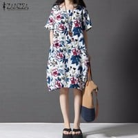 Women Vintage Print Floral Dress 2017 Summer ZANZEA Short Sleeve Loose Casual Knee Length Oversized Dress Vestidos Plus Size