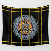 Blue bloom golden and metal sky Wall Tapestry by Pepita Selles