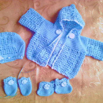 Baby sweater , hat, booties and mittens in blue and white ,infant clothes , newborn outfit