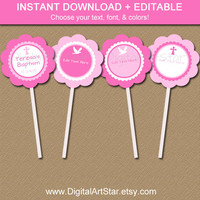 Christening Cupcake Toppers - EDITABLE Printable Pink Baptism Stickers, First Communion Tags, Catholic Cupcake Toppers, Confirmation INSTANT