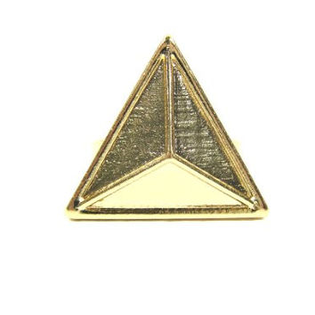 Geometric Triangle Ring Adjustable Gold Tone Pyramid Stud Glam Punk RG33 Cocktail Fashion Jewelry