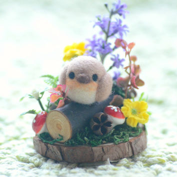 Robin bird in miniature garden diorama, needle felted robin bird diorama ornament, mini spring flower garden, bird on wood, gift under 30